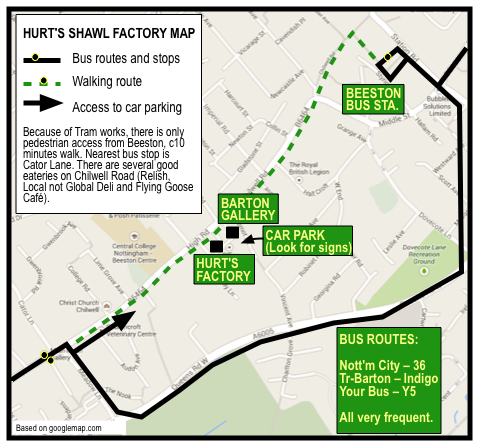 Map showing how to get to Hurt's Shawl Factory
